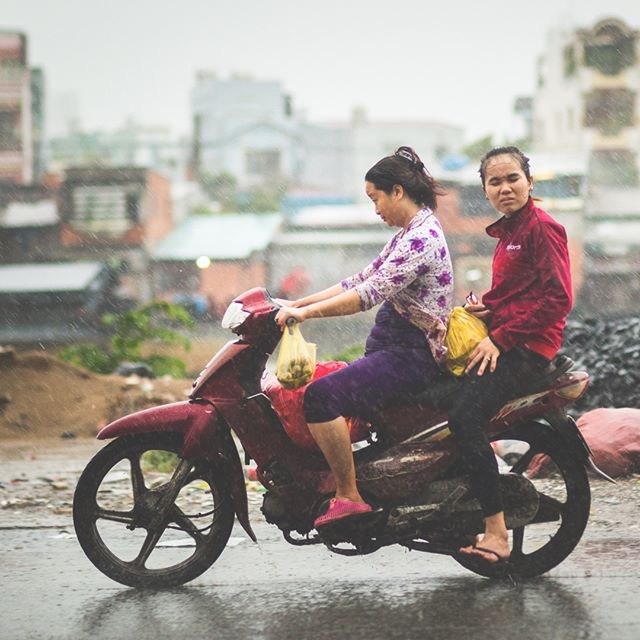 #bravingit in the #driving #rain #hochiminhcity #vietnam .. #rideon  #rainyseason #tropics