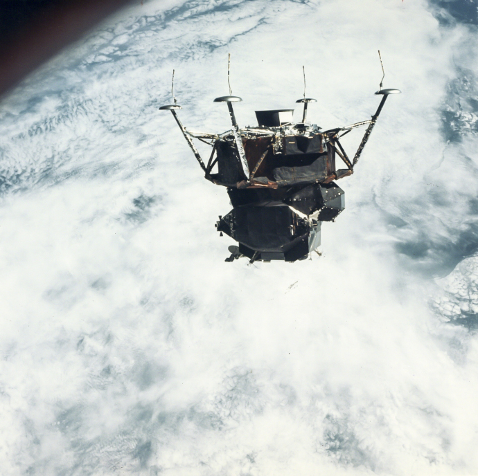 The Apollo 9 lunar module, Spider, in lunar-landing configuration over Earth, March, 1969..jpg