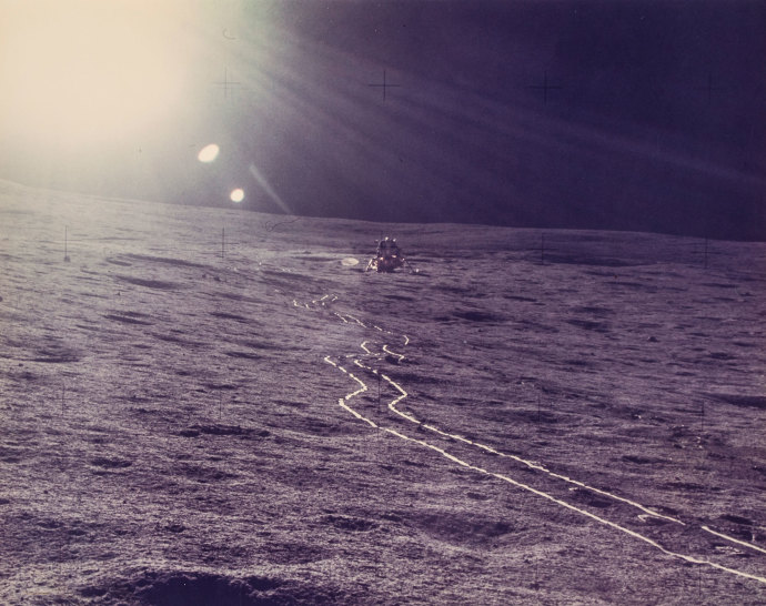 The Apollo 14 mission's lunar landing site at Fra Mauro, February, 1971..jpg