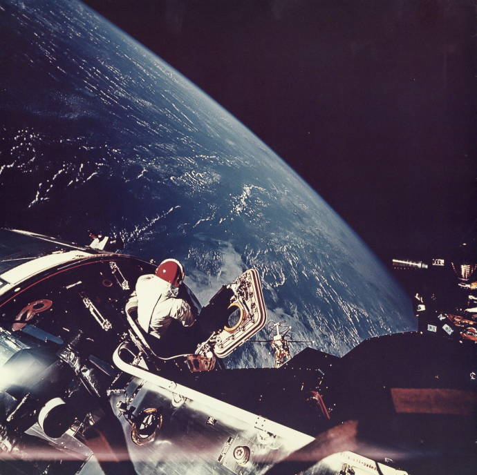 The Apollo 9 astronaut David Scott looks toward Earth during a space walk, March, 1969..jpg