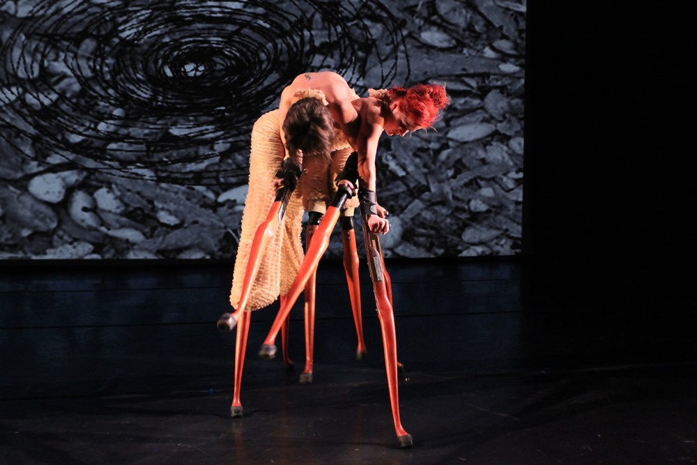 IMAGE - Dancers poised wearing sculptural prosthetic limbs. Lisa Bufano and Sonsheree Giles,  One Breath Is An Ocean For a Wooden Heart , AXIS Dance Company  in association with Alliger Arts, 2008. Photograph by Jason Tschantré.