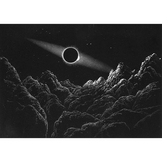 Aspect of an Eclipse of the Sun by the Earth as it would appear as seen from the Moon . James Nasmyth, 1874