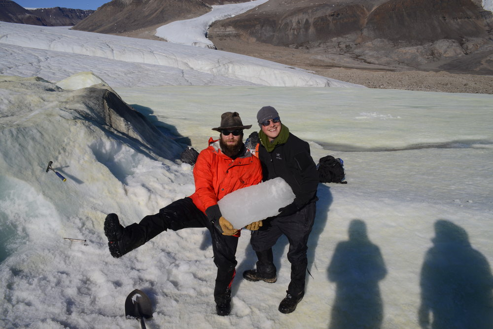 Extraction of a block of ice from the glacier in 2014 took a lot of work using rock hammers, but we got it. And we safely brought it the whole way back to Colorado; it had to spend two days in a hotel freezer in Ottawa, but it's still ice.
