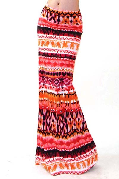 Orange TRIBAL maxi skirt — Successful Looks elements fashion shows