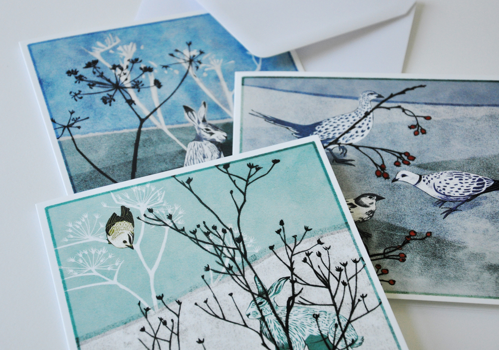 Series of autumn/winter flora + fauna designs for greeting cards
