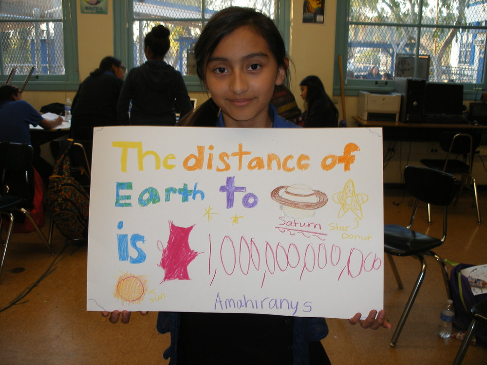 "Amahirany Diaz participates in ""Universe: More Than Meets the Eye"" workshop at Irving STEAM Magnet Middle School, Eagle Rock, CA, February 2015. Facilitator: Dr. Aomawa Shields"
