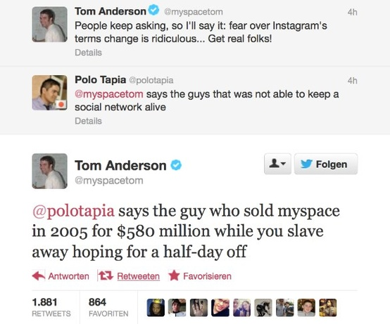 MySpace Tom Tweet