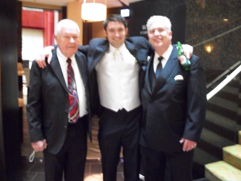 All three Hawkins generations on the day of my wedding