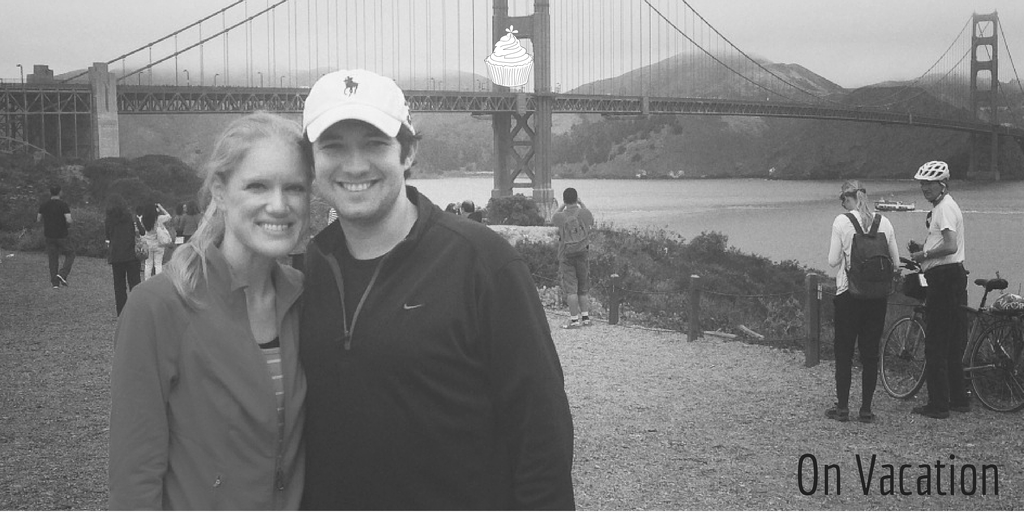 Megan and I posing for a picture on our bike ride across the Golden Gate Bridge.