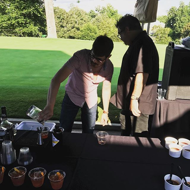 Making hundreds of @proof.syrup old fashioneds for the #dogwoodinvitational!