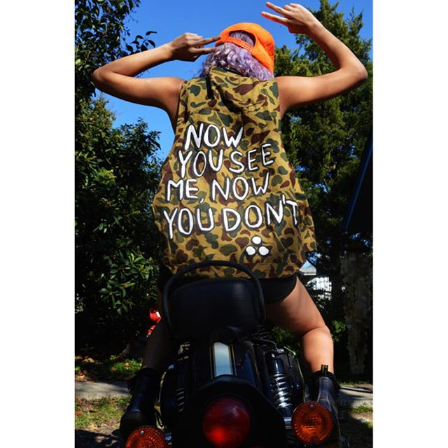 👀NOW YOU SEE ME👀 NOW YOU DON'T🙅🙅🙅 •Hand-painted cloth camo vest •modeled by the lovely @nicocien ❤️ #byefelcia ✌️✌✌