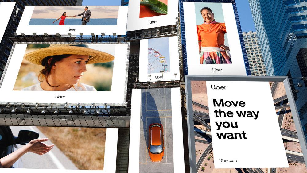 전용 서체의 개발은 물론 디자인 스타일과 이미지를 통해 감성적 가치와 형태를 구체화한 우버의 2018 리브랜딩, (이미지 출처 :  https://www.uber.design/case-studies/rebrand-2018 )