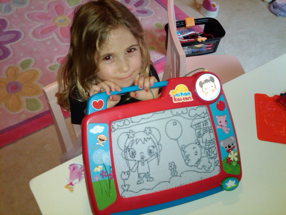 Sydney (age 5, stencils + free-hand)