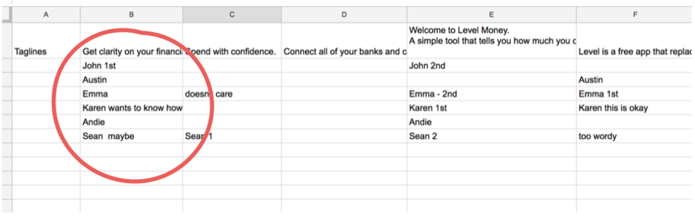 Screenshot of my mini spreadsheet of tagline responses