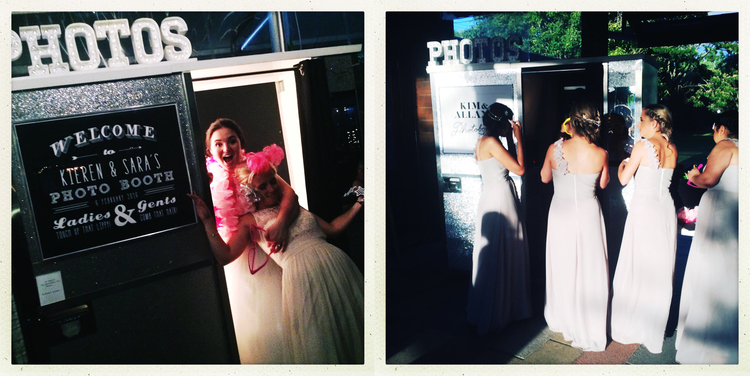 GIVE YOUR GUESTS a photo booth challenge | PHOTO CREDIT:  Photoautomatica (www.photoautomatica.co.nz)  Challenge:  Guest with two bridesmaids