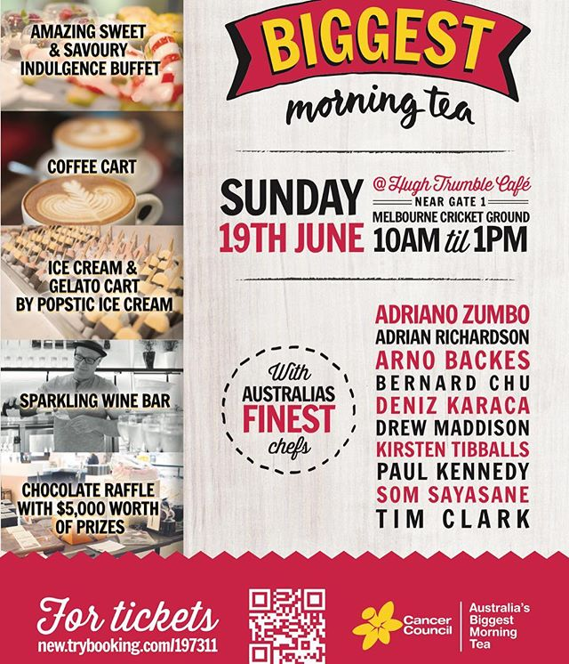 Join us for Australia Biggest Morning Tea held @mcg1853 we'll be offering frozen petit four ice cream and sorbets. Our line up includes; strawberryies & cream, cookies & cream, peppermint ice cream and mandarin, cumquat & sugarcane sorbet. 100% of the proceeds goes to the @cancercouncil support the cause ✌️ #melbourne #cancercouncil #morningtea #icecream #sorbet #petitfours #mcg #melbournecricketground #denizkaraca  #cuveechocolate
