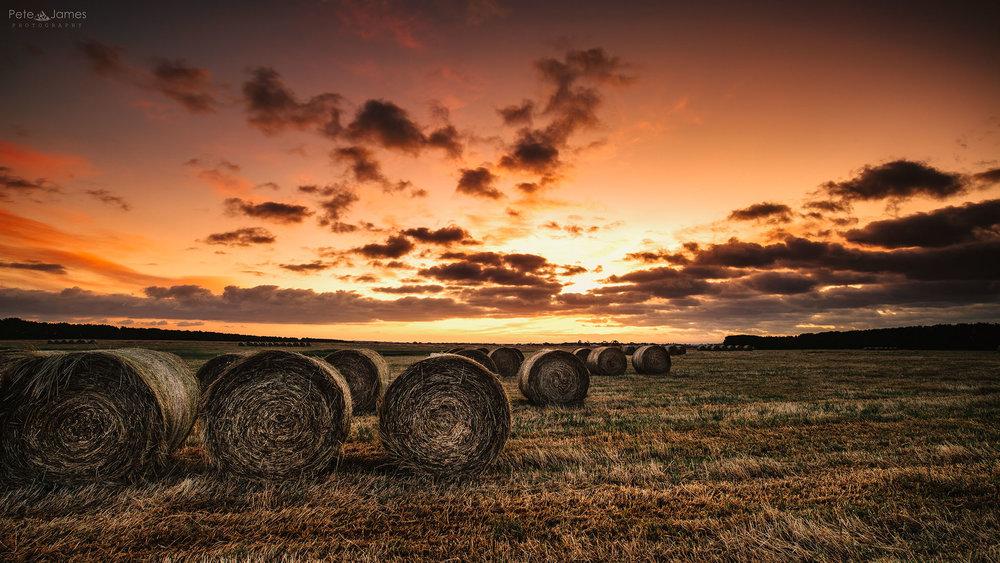 Hay bail sunrise