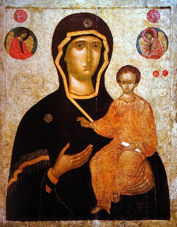 "Icon fo the Mother of God ""the Directress"" from the Monastery of Xenophontos on Mt. Athos"