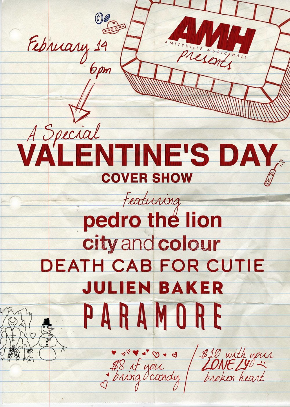 A Special Valentine's Day Cover Show -  Pedro The Lion (Amityville Music Hall staff)City and Colour (Heavy Tides)Death Cab for Cutie (Staleworth + friends)Julien Baker (Sal Salamone + Bee Asaro making you cry)Paramore (Megaweapon. + friends)$8+16+