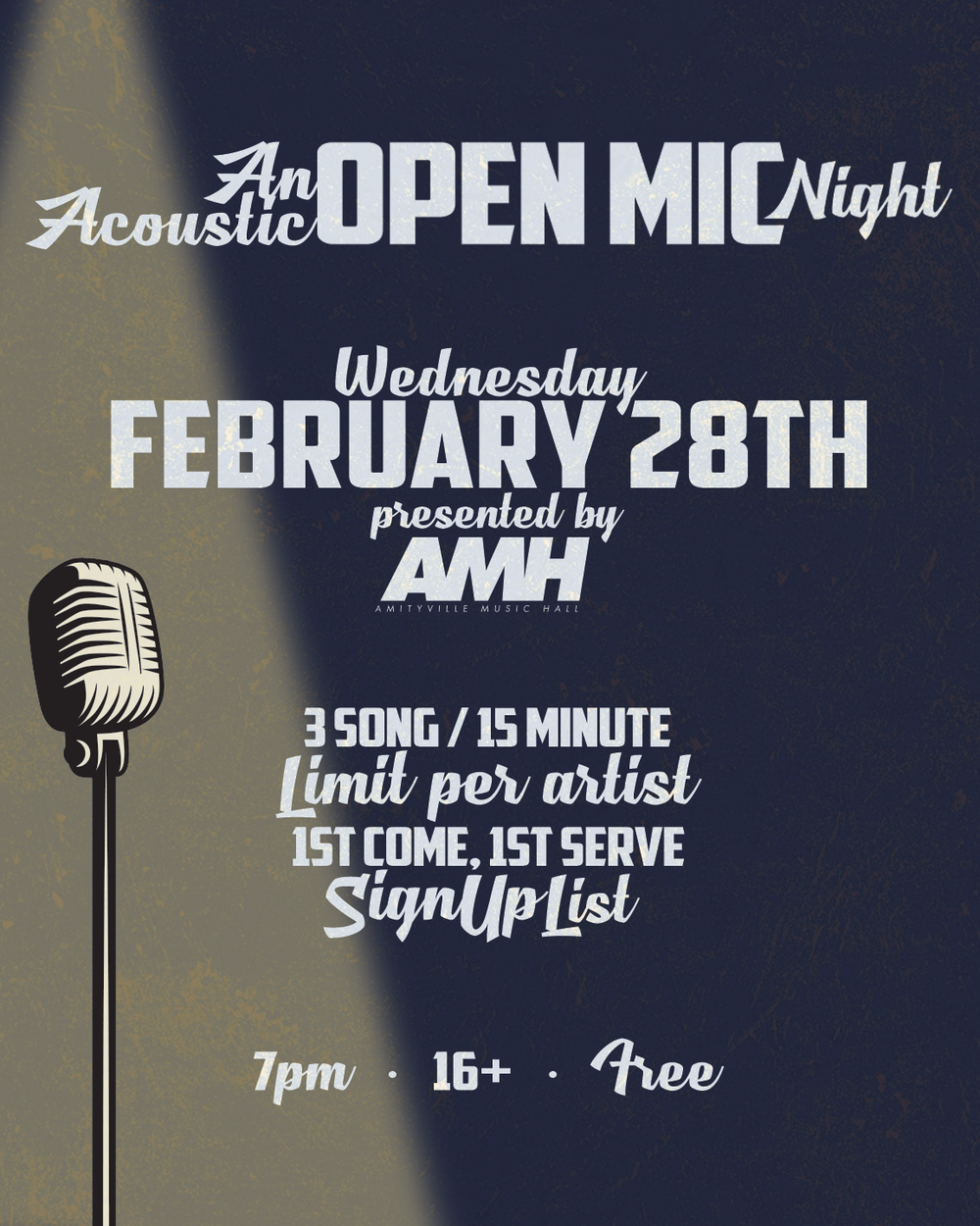 An Acoustic Open Mic - 3 Song Limit / 15 Minute Limit Per Artist / 1st Comes 1st Serve Sign Up List FREE16+ w/ ID