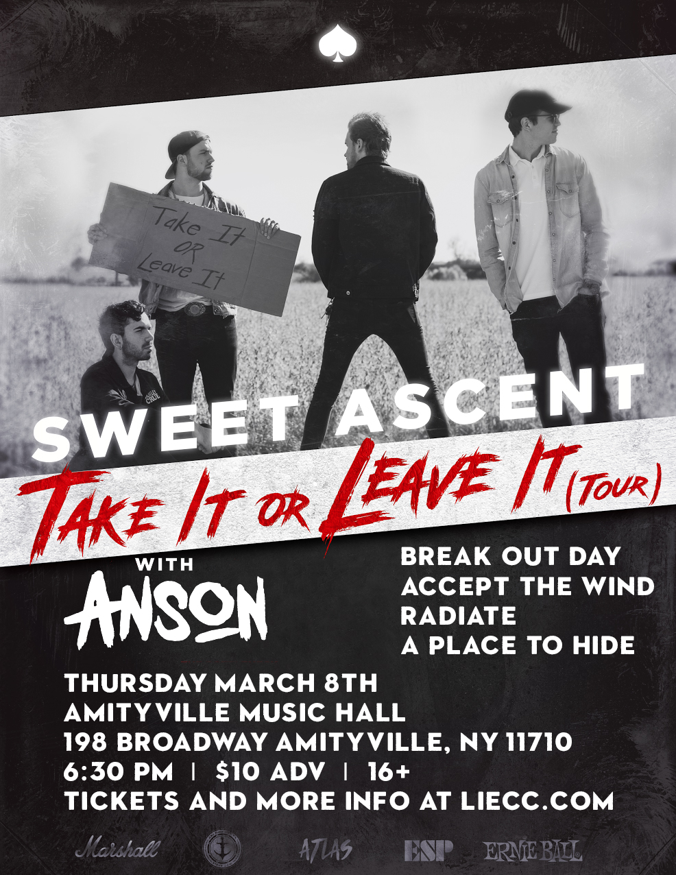 Sweet Ascent - Anson,Break Out Day,Accept the Wind,Radiate band, and A Place To Hide$10 ADV / $12 DOS16+ w/ ID