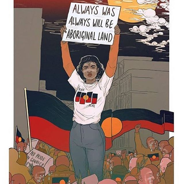 • no pride in genocide • today marks the beginning of generational oppression for the indigenous people of this country and we stand in solidarity. Always was, always will be aboriginal land ❤️💛🖤 • @coffinbirth