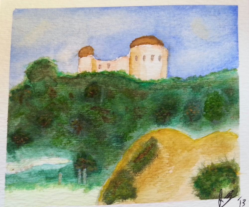 December, 2013   Griffith Observatory , painted from a picture I took while visiting my friends Corey and Laura in LA.