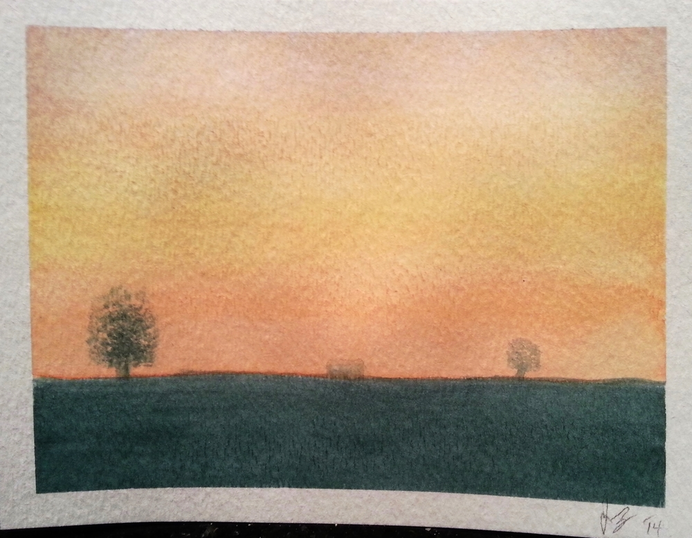 February, 2014  Attempt #2 at painting a sunset.