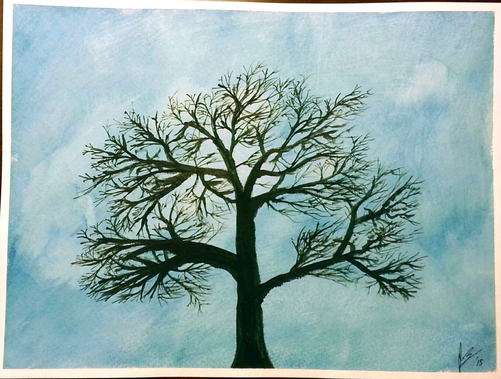 May, 2015  This was an effort on my part to get better at painting the branch structure of trees.