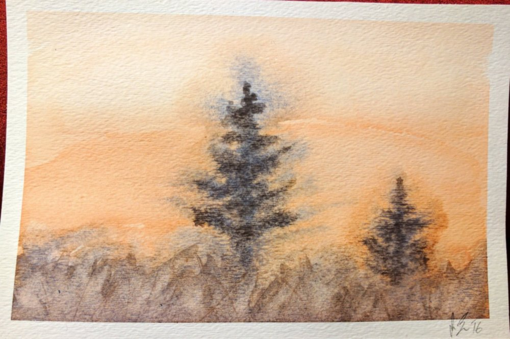 "December, 2016  My attempt at replicating the watercolor ""Two Pines"" from a watercolor tutorial book I picked up.  It needs work, especially in the trees.  I'll probably try this one again."