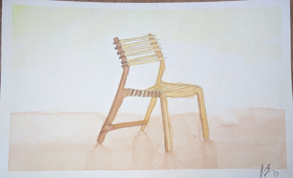 "March, 2017  ""Valovi Chair"" - A painting of a chair I actually made using a CNC machine with plans found on  opendesk.cc ."
