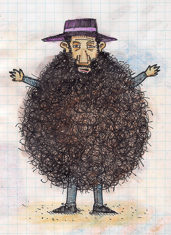 Drawing of a man with an enormous beard