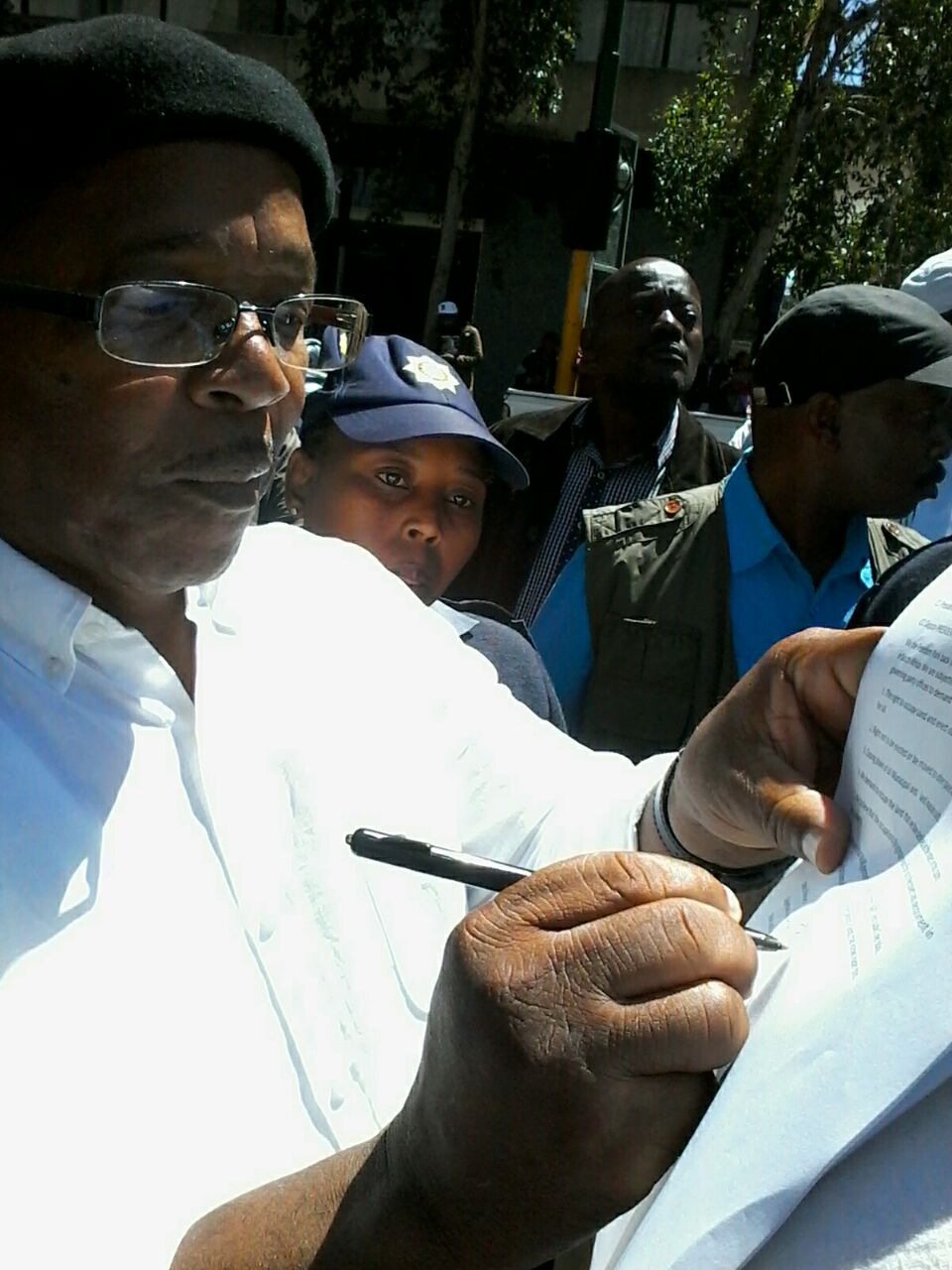 Babylon Xeketwana of the ANC receiving the memorandum.