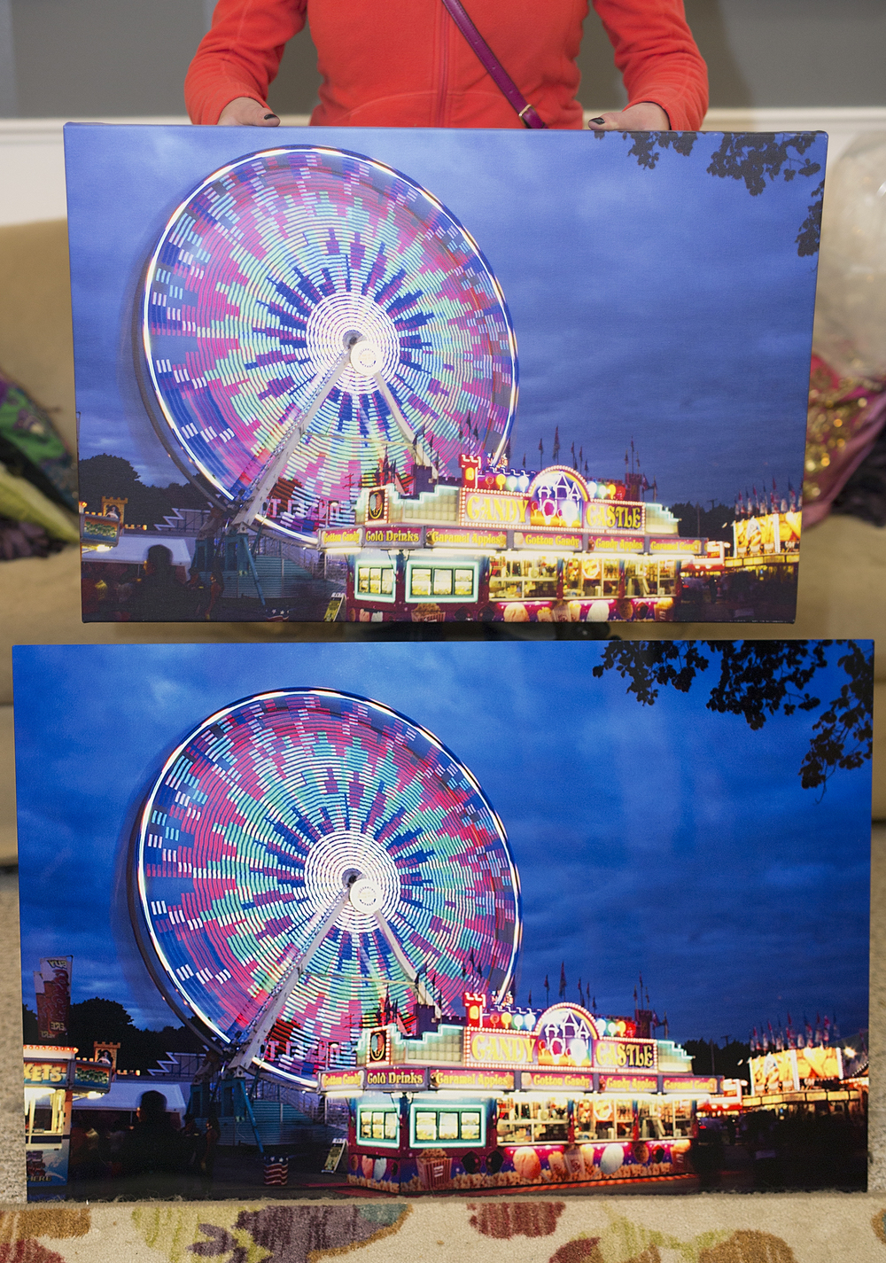 "This image is showing the print quality between a ""Groupon"" deal canvas company (16""x20"") and a professionally printed metal print (24""x36"") that had been printed on color calibrated monitor/printers."