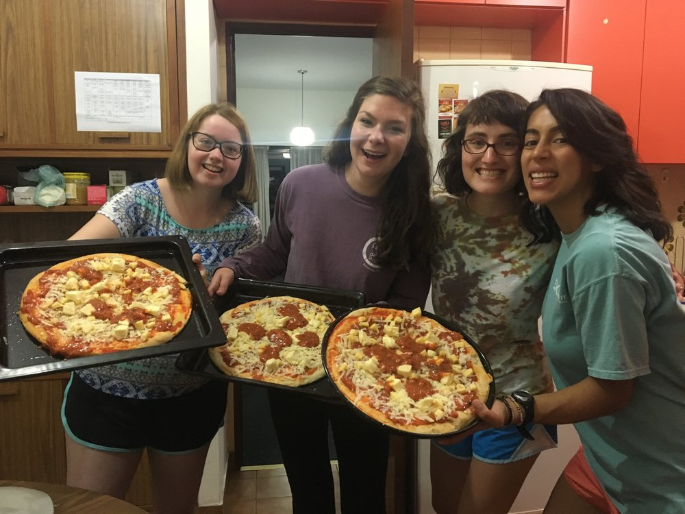 Ladies rock midnight pizzas also we did in fact have a banging dance party while cooking.
