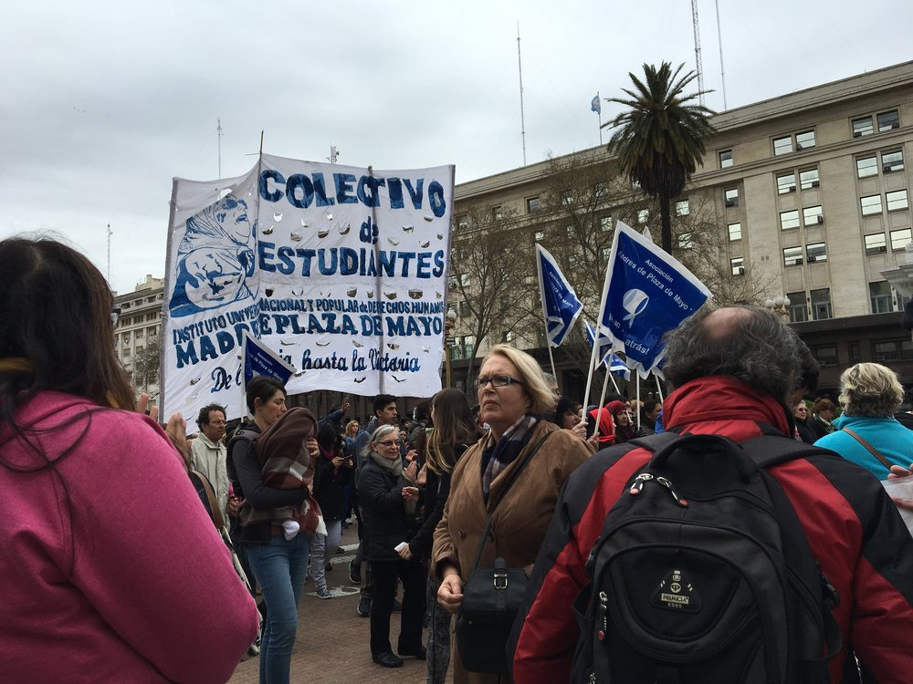 This is the other group The Asociacion de Madres de Plaza de Mayo. They are also still fighting to find there lost love ones but have more of a political agenda.