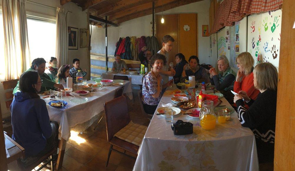 Everyone eating.