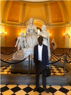 Ladji in the California Capitol Rotunda while accompanying Alicia on a business trip.