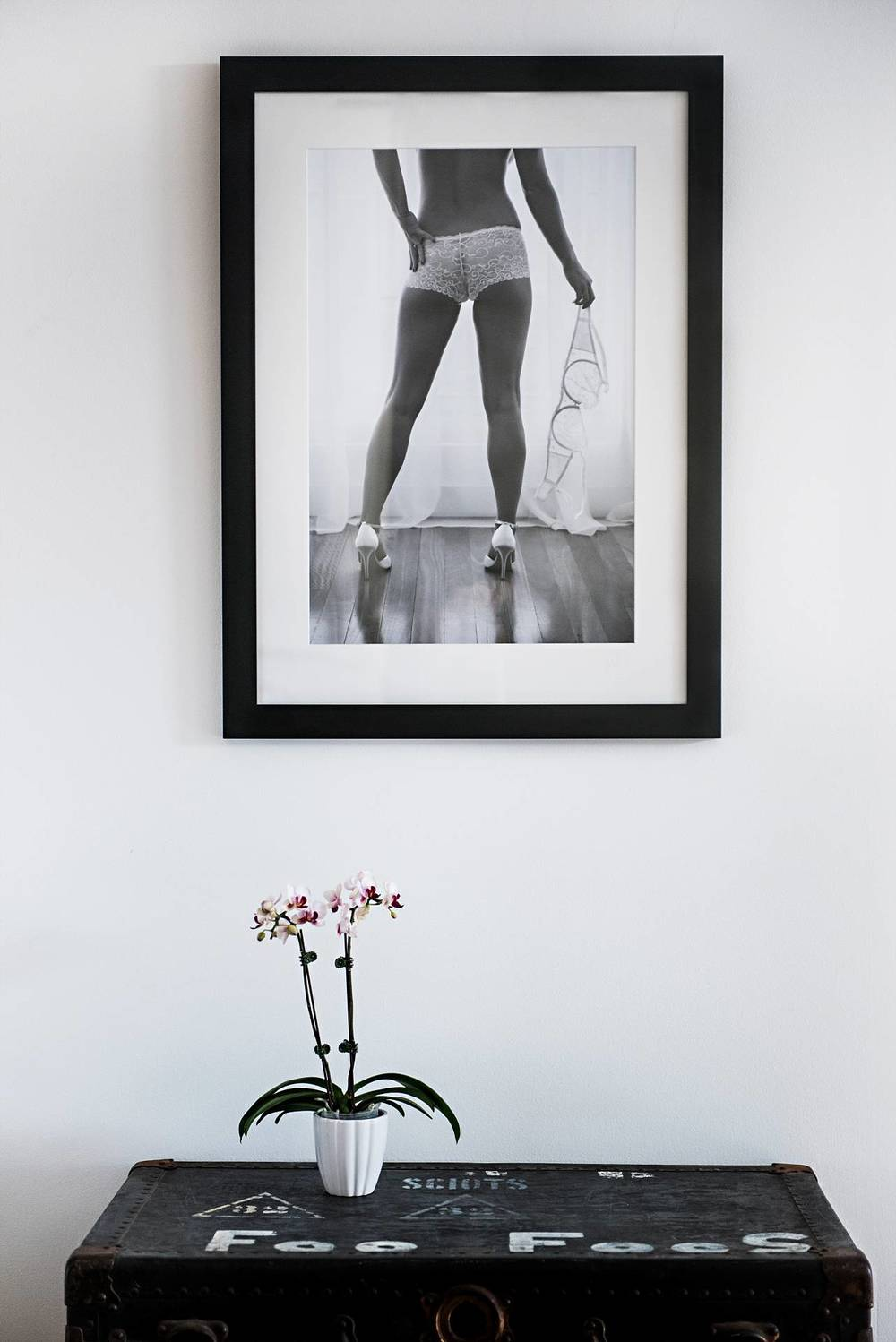 Classic black and white art with gallery style framing.