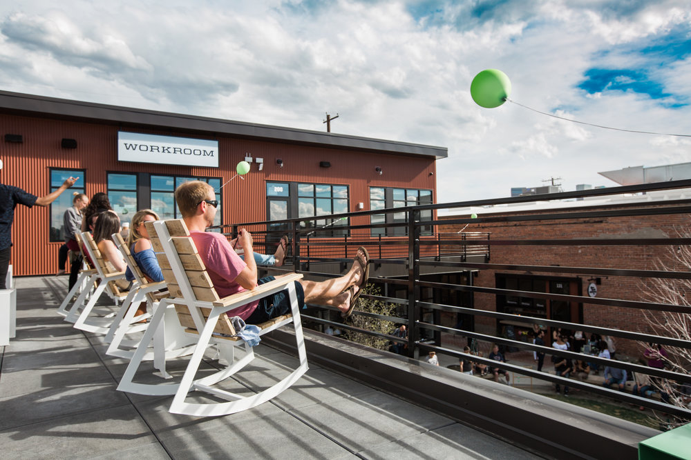 The Workroom is a co-working space on the top floor of Backyard on Blake, which has an epic patio view!