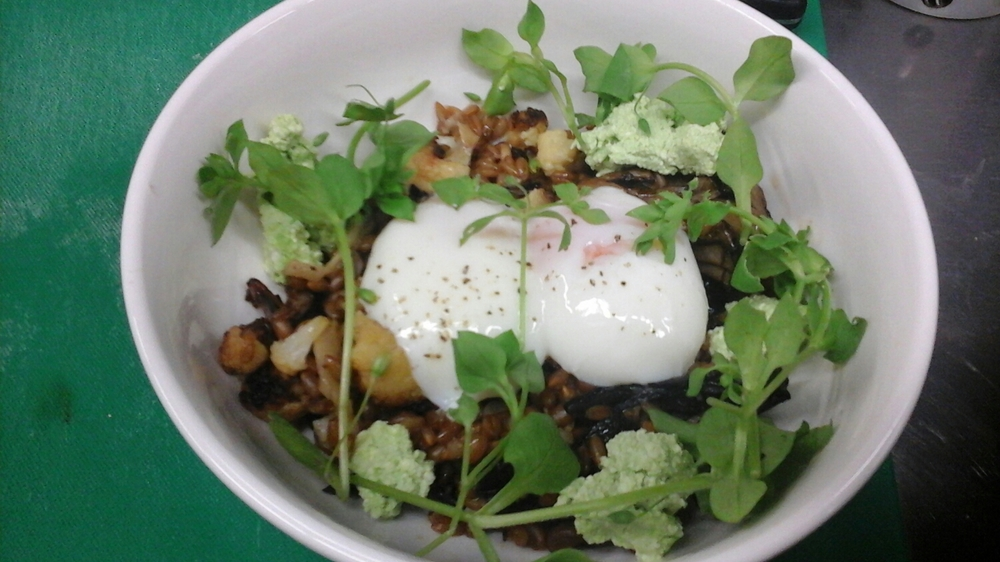 charred mushrooms, wild garlic ricotta and onset eggs