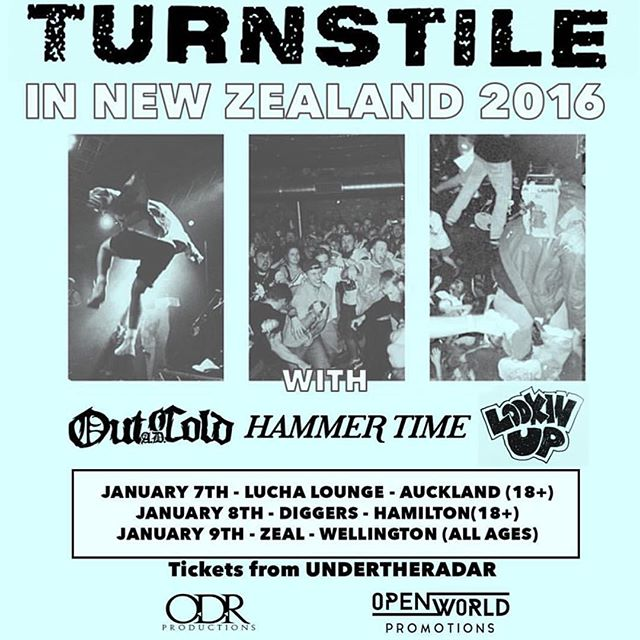 Stoked to announce that our boys OUT COLD A.D. Will be supporting @turnstiletribe in New Zealand in January. These shows are going to be wild!