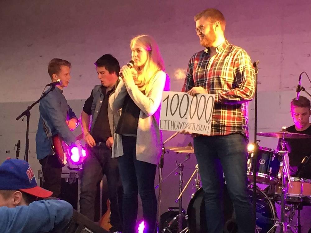 Overskuddsummen fra festivalen i april 2015 ble offentliggjort på Sommer i Bygda i Båstad av Jenni og Fredrik.