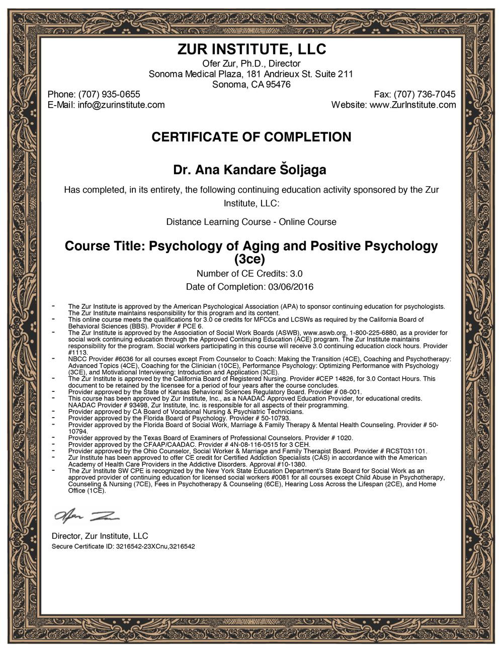 Psihologija starenja i pozitivna psihologija