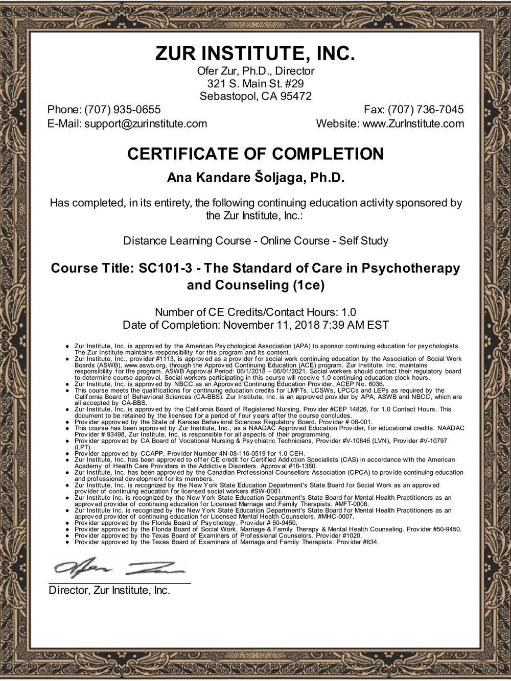 Standard skrbi u psihoterapiji i savjetovanju
