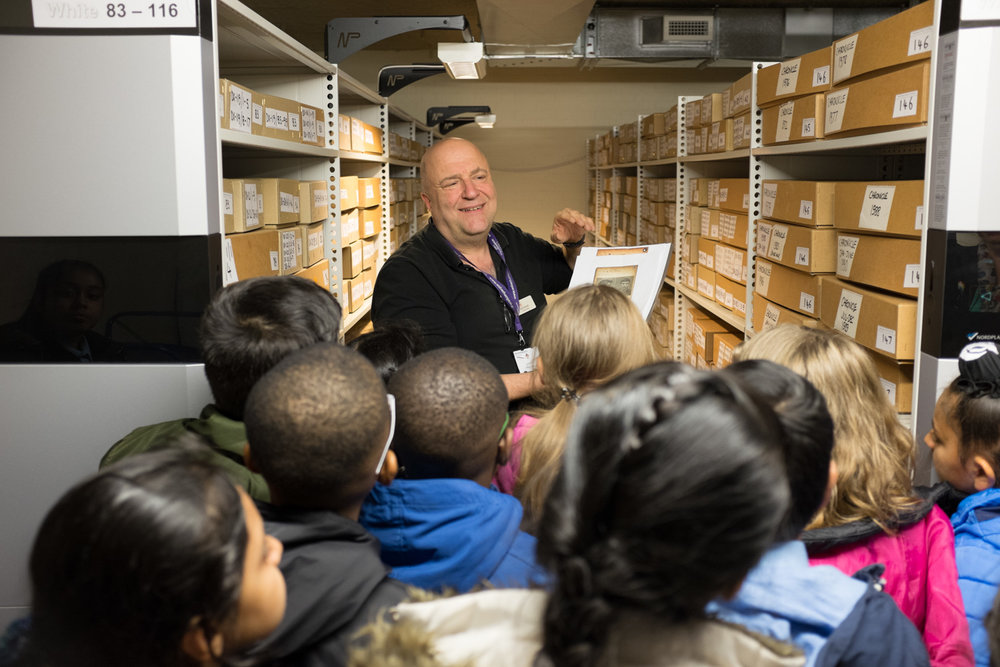 Jon shows the children the strong rooms at Wolverhampton City Archives