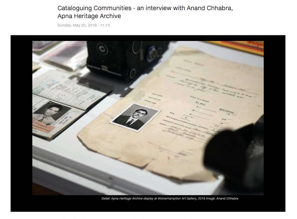 An interview about the Apna Heritage Archive is featured on the members blog.