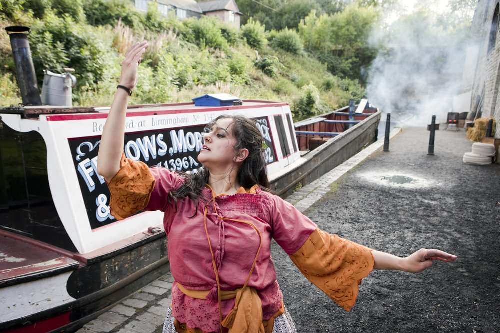 Sonia Sabri dance performance for 'Back in 10'on the set at Black Country Living Museum.