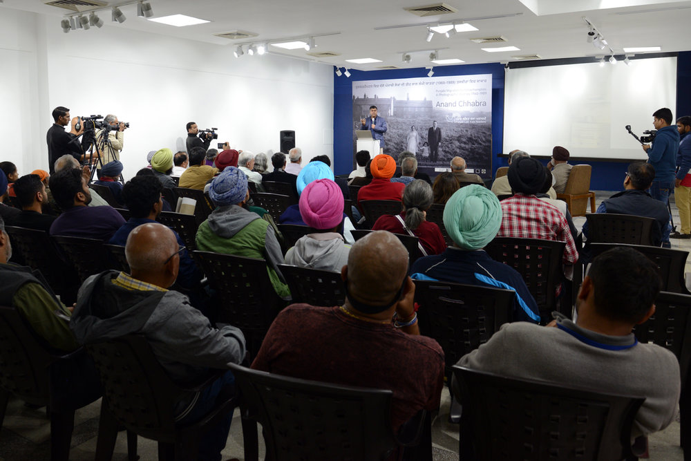 CHANDIGARH, PUNJAB -  Anand presents the research on Punjabi migration to Punjabi's and the event is televised across Punjab and internationally via Sikh and Punjabi channels.