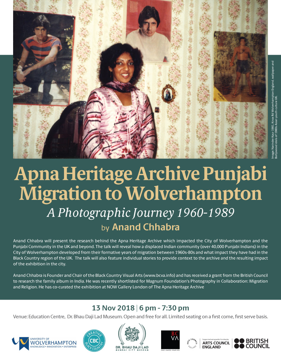 MUMBAI -  Marketing poster for the presentation of Punjabi migration to Wolverhampton c1960-80s to be presented at the Dr Bhau Daji Lad Museum in Mumba, Mumbai's greatest and oldest museum (formerly the Victoria and Albert Museum). Mumbai also formerly known as Bombay is a hotspot for arts and culture in India and the home of the Bollywood Industry.